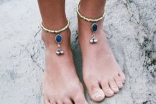 18 metallic anklets with silver beads and large navy rhinestones