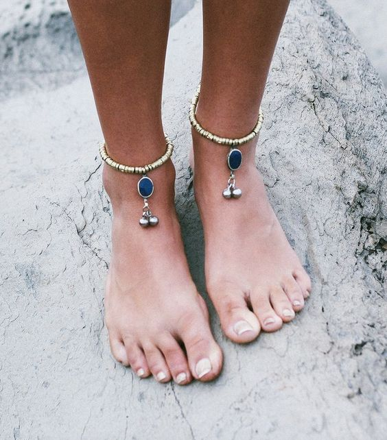 metallic anklets with silver beads and large navy rhinestones