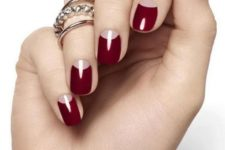 18 red half moon classic nails