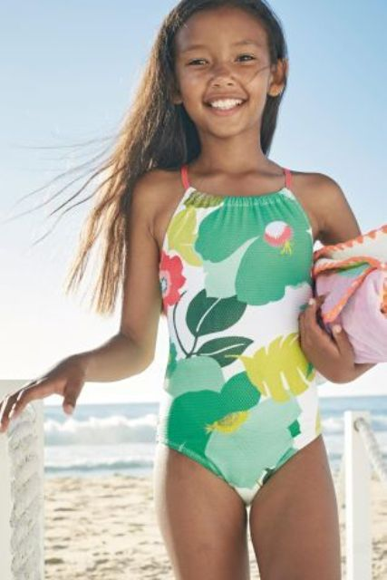 multi floral print swimsuit with a halter neckline