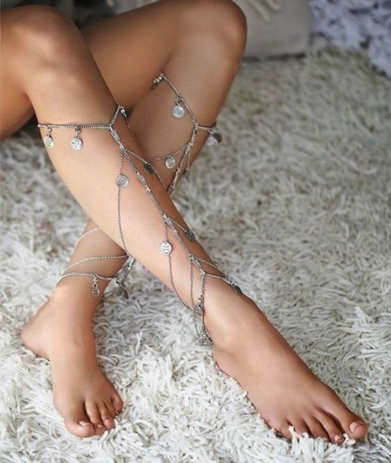 multilayer boho leg chains with coin pendants