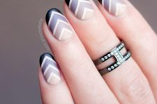 19 ombre chavron manicure in shades of grey and black