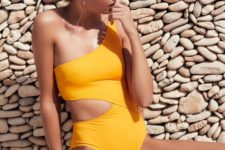 19 one shoulder sunny yellow swimsuit with a side cutout