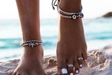 19 silver anklets with beads, starfish decor and pendants