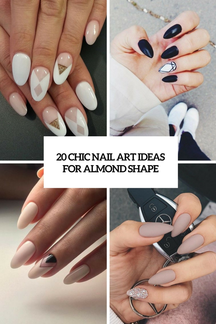 chic nail art ideas for almond shape cover