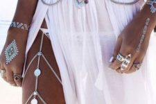 20 silver boho layered belly chain and a matching one on the leg
