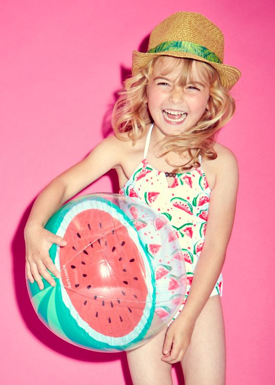 spaghetti strap watermelong print swimsuit