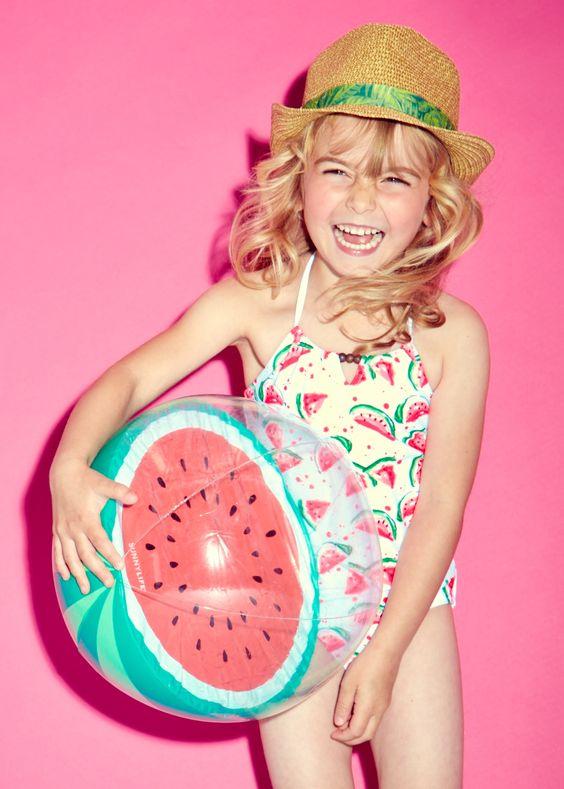 spaghetti strap watermelong print swimsuit