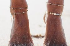20 subtle and delicate chain anklets with small beads and coins