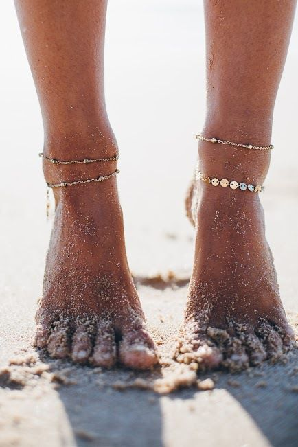 subtle and delicate chain anklets with small beads and coins