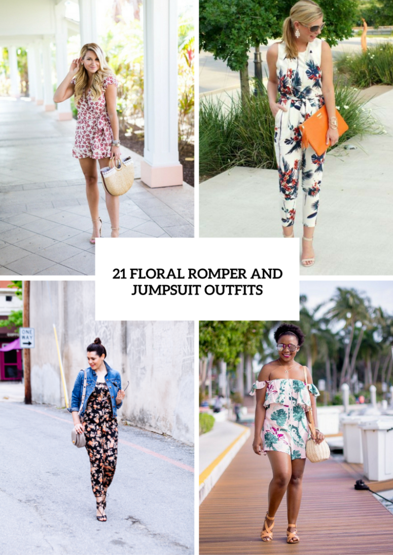 0b5a7af2b2a 21 Cool Floral Print Romper And Jumpsuit Outfits