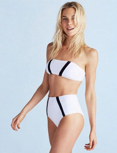 modern white and black bandeau swimsuit and a high waist bottom