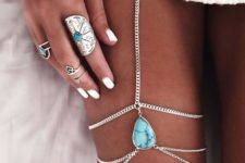 21 silver leg chain with turquoise