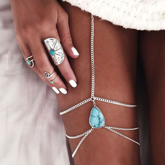 silver leg chain with turquoise
