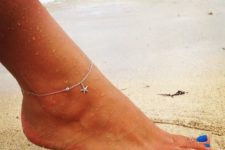 21 thin and delicate chain anklet with a starfish pendant