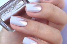 21 white and copper tringle manicure