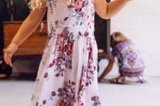 21 white midi dress with pink and purple florals and cap sleeves