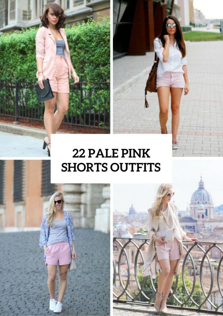 Women Outfits With Pale Pink Shorts