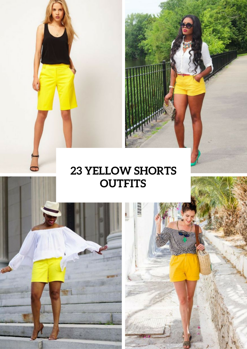 Women Outfits With Yellow Shorts