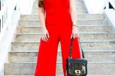With black small bag and black pumps