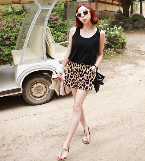 With black top and flat sandals