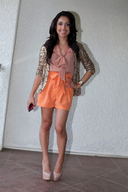 With blouse, sequin jacket and nude platform shoes