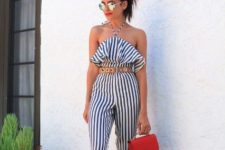 With brown belt, red mini bag and lace up sandals