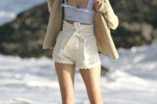 With crop top and beige jacket