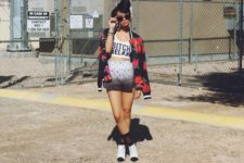 With crop top, black and white boots and floral bomber jacket