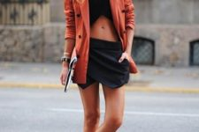 With crop top, long blazer and slip on shoes
