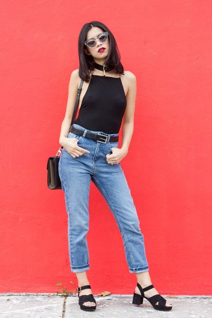 With cuffed jeans, black belt, black sandals and crossbody bag