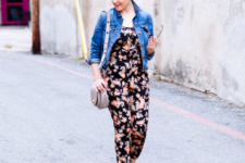 stylish spring look with a denim jacket and a floral jumsuit
