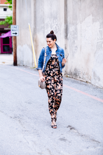 With denim jacket, gray bag and lace up sandals