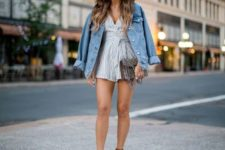 With denim jacket, platform sandals and printed clutch