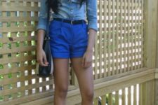 With denim shirt, printed sandals and simple bag