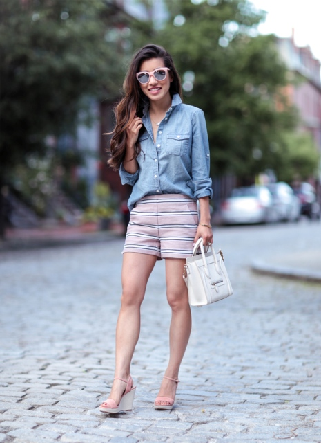With denim shirt, white bag and platform sandals