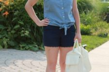 With denim shirt, white sneakers and white bag
