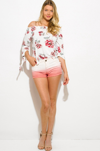 With floral blouse and nude heels