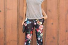 cute spring look with floral pants