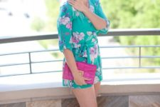 With hot pink clutch and sandals