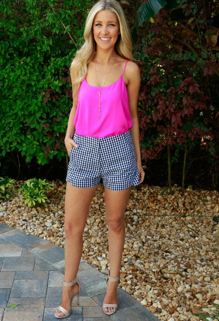 With hot pink top and nude heels