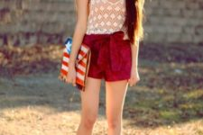 With lace top, printed clutch and pastel color shoes