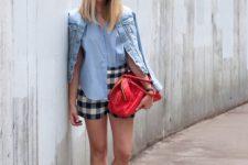 With light blue shirt, denim jacket, red bag and heels
