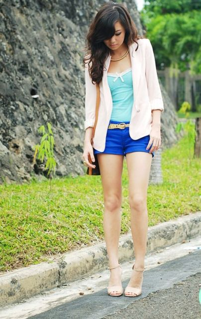With mint top, beige blazer and nude heels