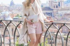 With nude blazer, printed clutch and nude shoes