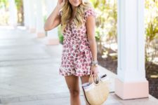 With nude sandals and half-moon bag