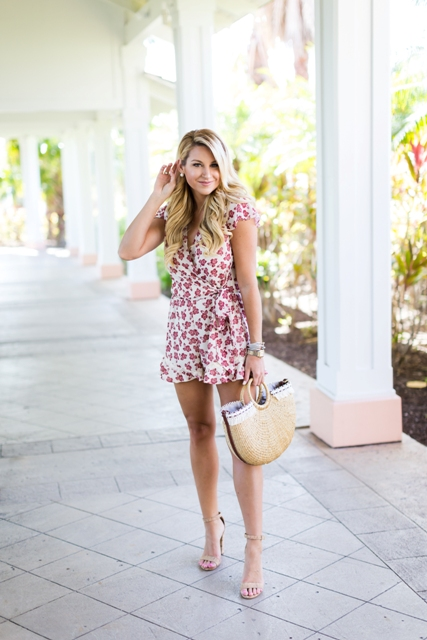 With nude sandals and half moon bag