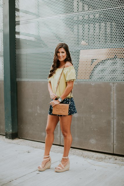 With off the shoulder blouse, brown bag and beige shoes