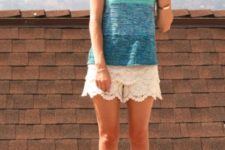 With ombre top and blue sandals