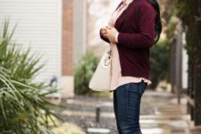 With pale pink blouse, marsala blazer and jeans